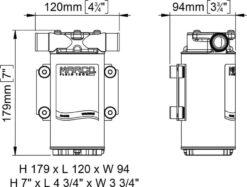 Marco UP1-B Pompe pour réservoir ballast avec rotor flexible 11 gpm - 45 l/min (24 Volt) 8