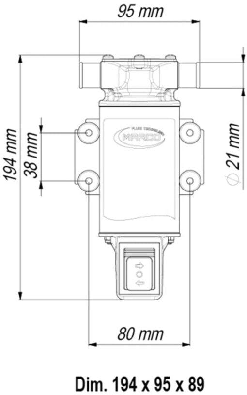 Marco UP1-JR Pompe réversible avec rotor souple 7.4 gpm - 28 l/min avec on/off intégré (24 Volt) 6