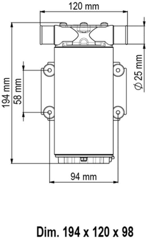 Marco UP1-M Pompe rotor souple 11 gpm - 45 l/min (12 Volt) 4