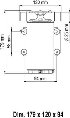 Marco UP1-N Pompe rotor souple 9.25 gpm - 35 l/min (12 Volt) 6
