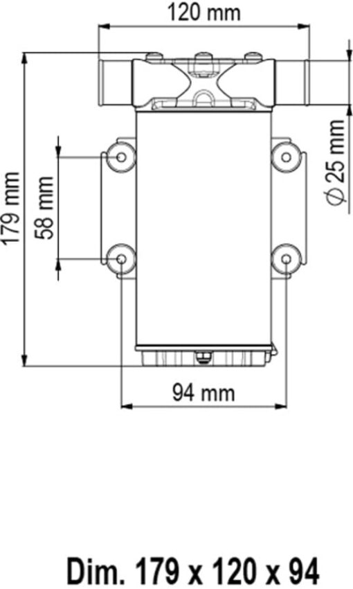 Marco UP1-N Pompe rotor souple 9.25 gpm - 35 l/min (12 Volt) 3
