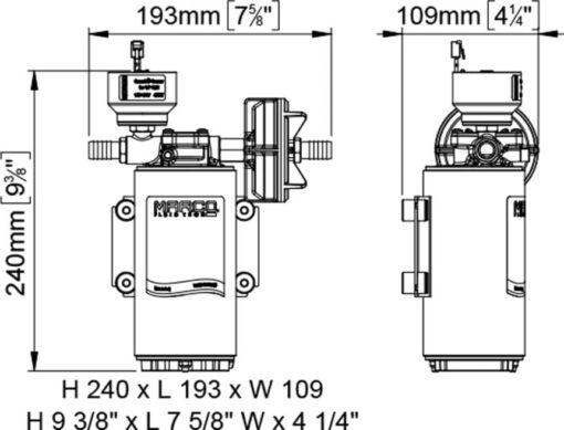 Marco UP10/E-BR 12/24V Pompe à engrenages en bronze avec commande électronique 4.8 gpm - 18 l/min 7