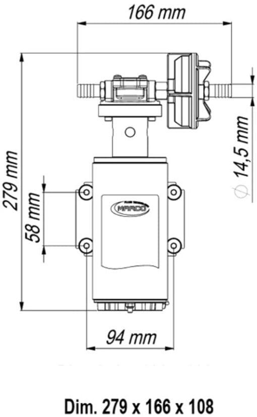 Marco UP10-HD Pompe services lourds avec bride, 7 bar, 4.8 gpm - 18 l/min (24 Volt) 4