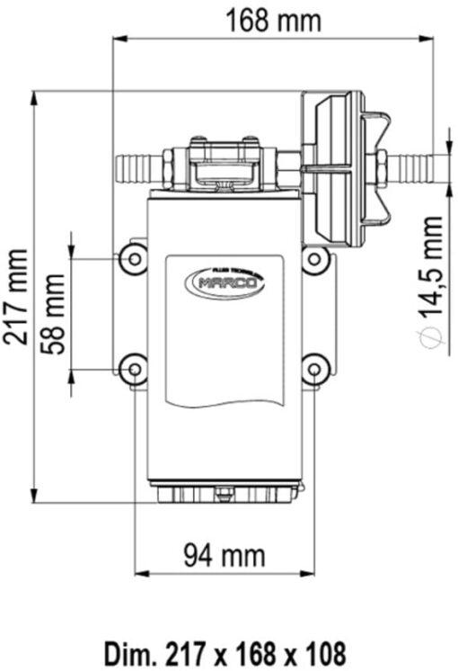 Marco UP10-P Pompe pour services lourds 4.8 gpm - 18 l/min - engr. PEEK - O-Ring VITON (12 Volt) 4