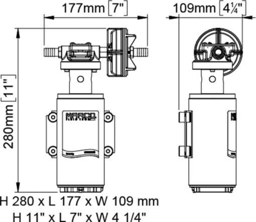 Marco UP10-XA Pompe pour herbicides 4.8 gpm - 18 l/min - s.s. AISI 316 L - FKM (Viton) seal (12 Volt) 4