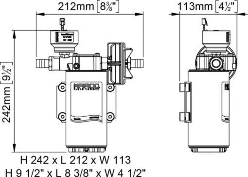 Marco UP12/E-LOBR 12/24V Pompe à engrenages en bronze avec commande électronique 6.9 gpm - 26 l/min 7