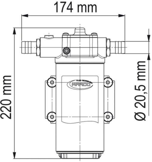 Marco UP14-PV Pompe à engrenages PTFE avec clapet anti-retour 12.2 gpm - 46 l/min (12 Volt) 6