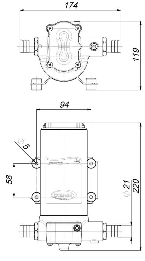 Marco UP14 Pompe à engrenages bronze 12.2 gpm - 46 l/min (12 Volt) 6