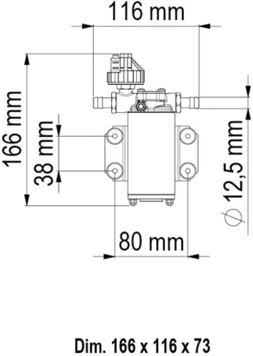 Marco UP2/A Groupe d'eau avec pressostat 2.6 gpm - 10 l/min (24 Volt) 6