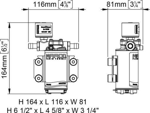 Marco UP2/E-BR 12/24V Pompe à engrenages en bronze avec commande électronique 2.6 gpm - 10 l/min 5