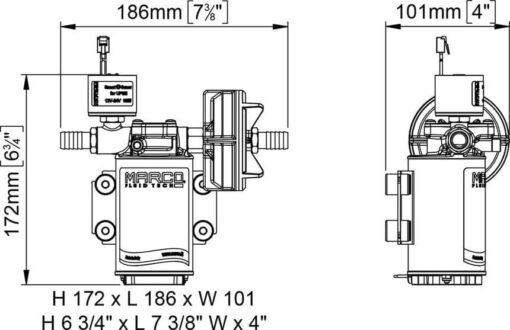 Marco UP3/E-BR 12/24V Pompe à engrenages en bronze avec commande électronique 4 gpm - 15 l/min 8