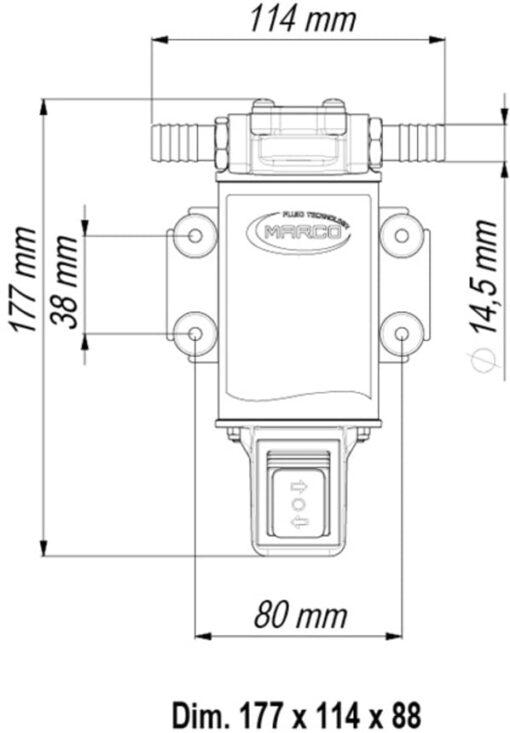 Marco UP3-R Pompe à engrenages bronze 4 gpm - 15 l/min avec on/off intégré - inversion du flux (24 Volt) 6
