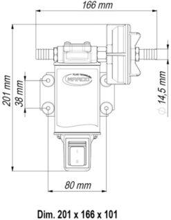Marco UP3-S Pompe à engrenages bronze 4 gpm - 15 l/min avec on/off intégré (24 Volt) 9