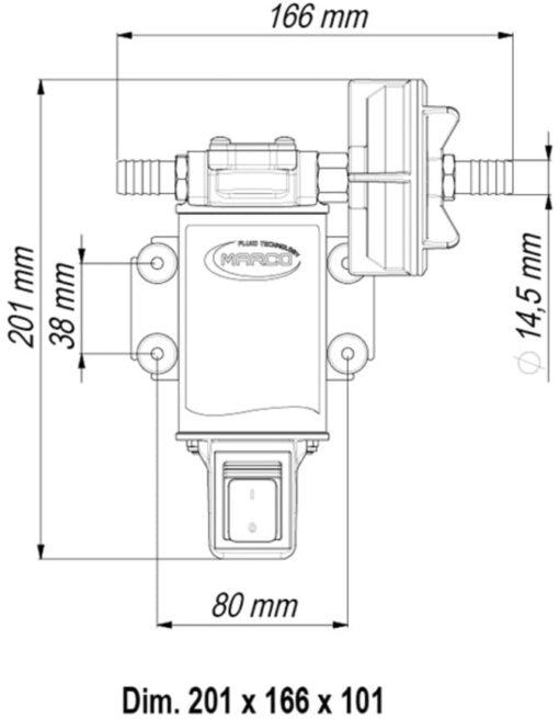 Marco UP3-S Pompe à engrenages bronze 4 gpm - 15 l/min avec on/off intégré (24 Volt) 6