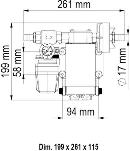 Marco UP6/A Groupe d'eau avec pressostat 6.9 gpm - 26 l/min (12 Volt) 6