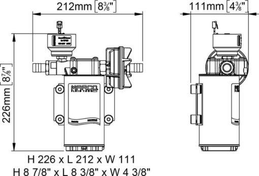 Marco UP6/E-BR 12/24V Pompe à engrenages en bronze avec commande électronique 6.9 gpm - 26 l/min 7