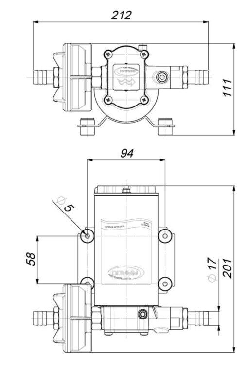 Marco UP6-PV Pompe à engrenages PTFE avec clapet anti-retour 6.9 gpm - 26 l/min (12 Volt) 6