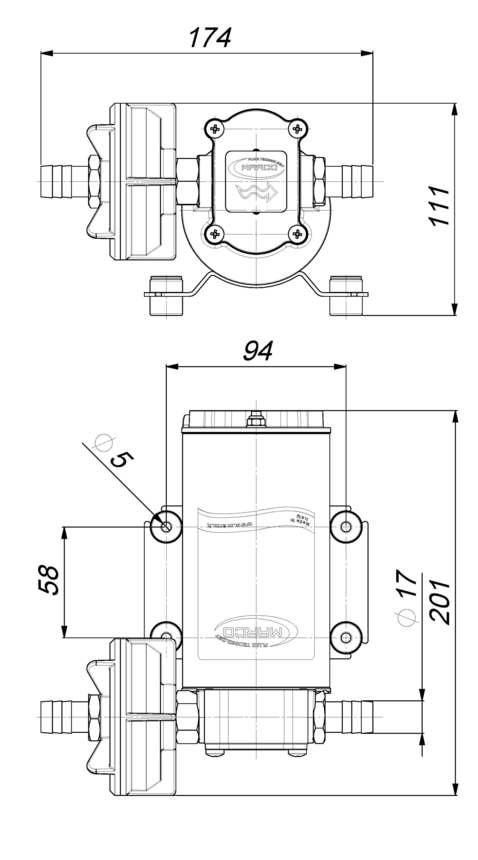 Marco UP6-P Pompe à engrenages PTFE 6.9 gpm - 26 l/min (12 Volt) 6
