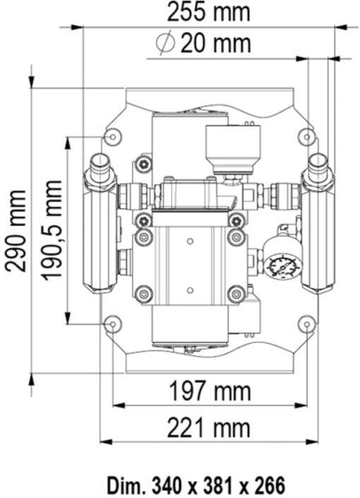 Marco UP66/E-DX Double groupe d'eau avec contrôle électronique 17.4 gpm - 66 l/min 6