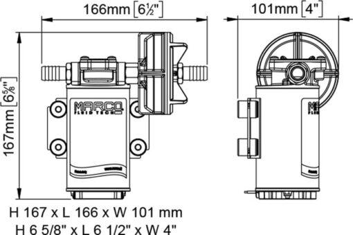 Marco UP8 Pompe à engrenages pour services lourds 2.6 gpm - 10 l/min (12 Volt) 6