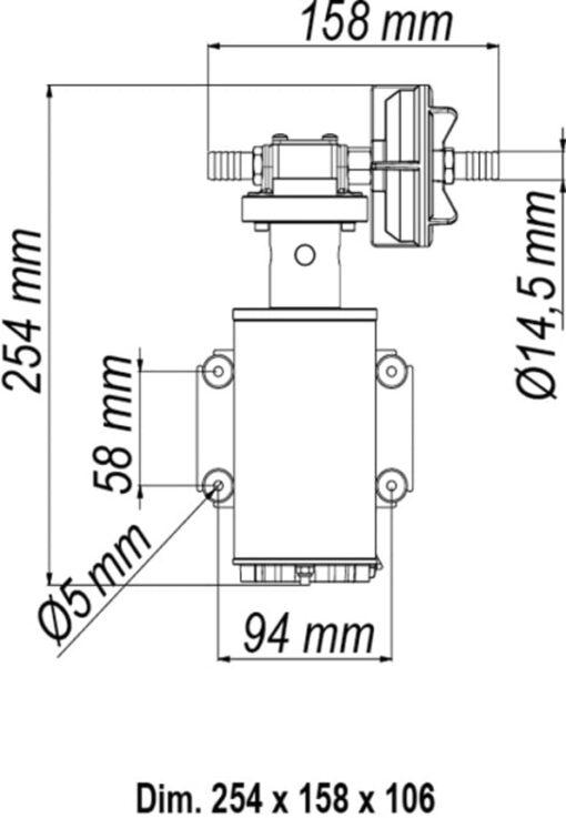 Marco UP9-HD Pompe pour services lourds avec bride 3.2 gpm - 12 l/min (24 Volt) 6