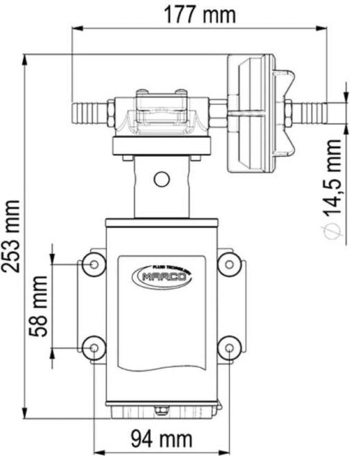Marco UP9-XA Pompe pour herbicides 3.2 gpm - 12 l/min - Inox AISI 316 L - FKM (Viton) seal (24 Volt) 6