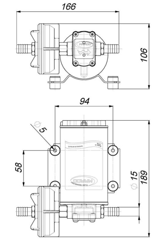 Marco UP9 Pompe à engrenages bronze pour services lourds 3.2 gpm - 12 l/min (24 Volt) 6