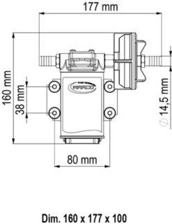 Marco UPX-C 12V Pompe pour chimiques 4 gpm - 15 l/min - Inox AISI 316 (24 Volt) 9