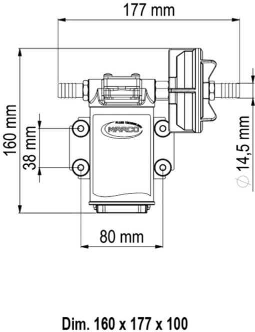 Marco UPX-C 12V Pompe pour chimiques 4 gpm - 15 l/min - Inox AISI 316 (24 Volt) 6