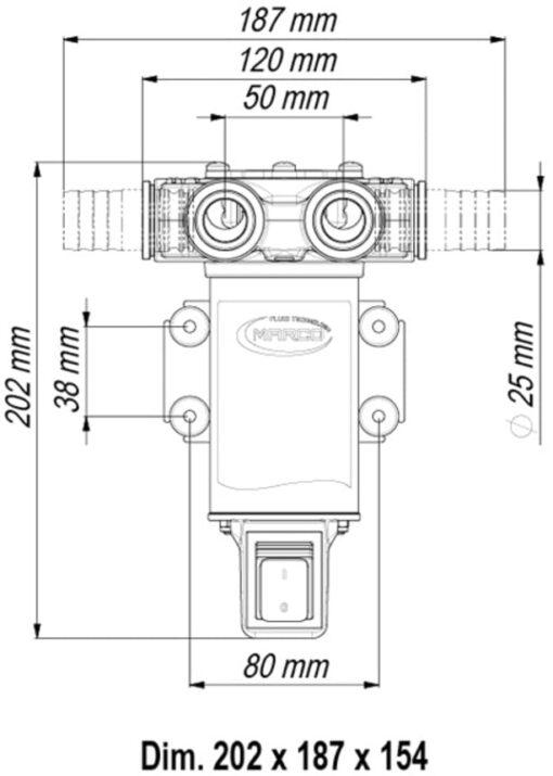 Marco VP45A-S Pompe à palettes avec on/off intégré 11 gpm - 45 l/min, connections en laiton (12 Volt) 4