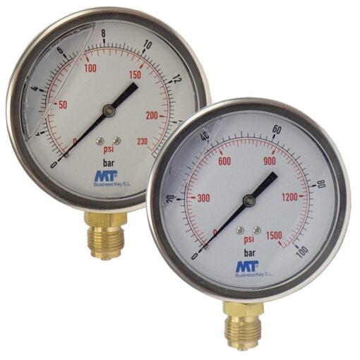 Rohrfedermanometer100 mm mit Glyzerinfüllung unten 6-16-40-100 bar 2