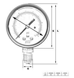 Rohrfedermanometer50 mm unten / hinten 2,5-4-6-10-16 bar 4